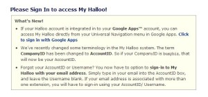 my.halloo.com sign in screen