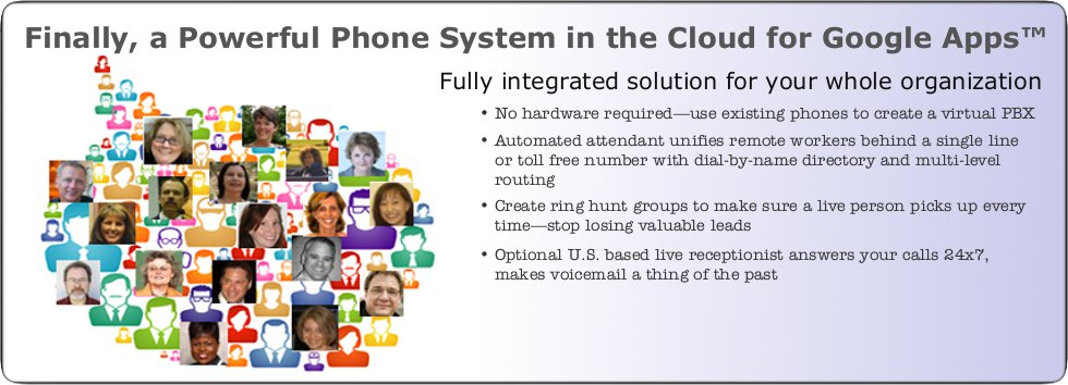Finally, a Powerful Phone System in the Cloud for Google Apps(TM). Fully integrated solution for your whole organization